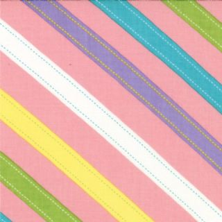 Moda - ABC Menagerie - 3094 - Multi-Coloured Diagonal Stripes on Pink - 39524-12 - Cotton Fabric